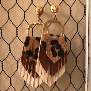 Cheetah fringe faux leather tassel earrings